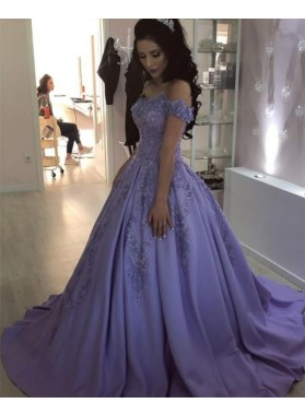 New Arrival Satin Off Shoulder Lavender Long Ball Gown Prom Dresses With Appliques