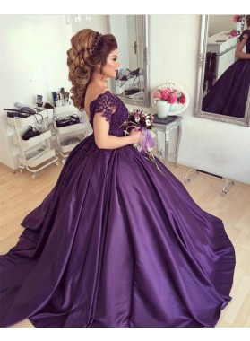 New Arrival Satin Sweetheart Capped Sleeves Grape Ball Gown Prom Dresses With Appliques