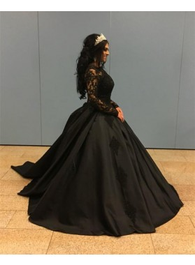 New Arrival Black Long Sleeves Satin Ball Gown Prom Dresses With Appliques