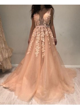 Cheap A Line Deep V Neck Tulle Pink Backless Prom Dresses With Appliques