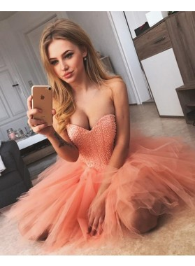 Cute Knee Length A Line Sweetheart Tulle Short Prom Dresses