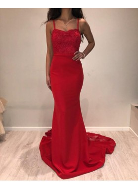 New Arrival Red Sheath Satin Spaghetti Straps Backless Lace Prom Dresses