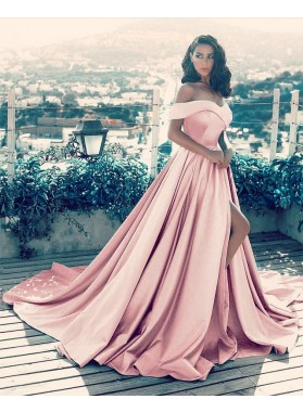 Charming A Line Side Slit Satin Dusty Rose Off Shoulder Sweetheart Long Prom Dresses