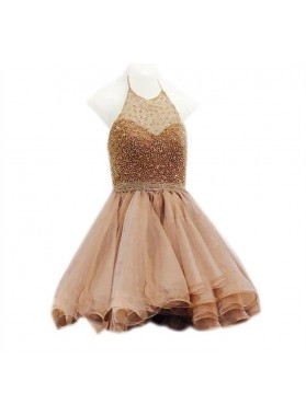 A Line Gold Knee Length Halter Beaded Short Organza Backless Prom Dresses