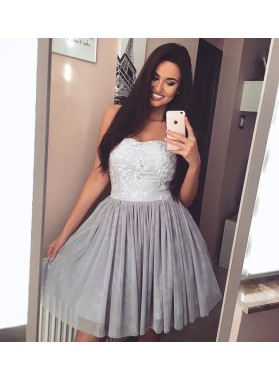 Cheap A Line Gray Strapless Knee Length Tulle Short Prom Dresses With Appliques