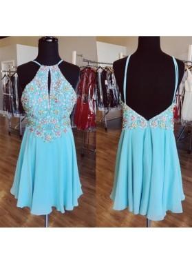 Cheap A Line Blue Chiffon Halter Beaded Knee Length Backless Short Prom Dresses