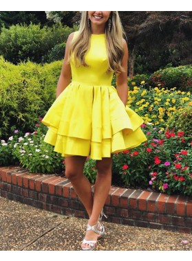 Cute Yellow Satin A Line Knee Length Tiered Short Prom Dresses 2021