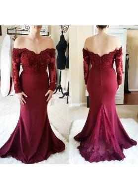 Charming Sheath Burgundy Long Sleeves Off Shoulder Lace Long Prom Dresses