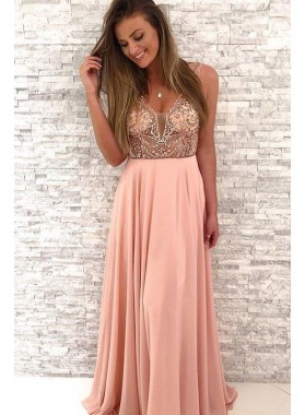 New Arrival A Line Chiffon V Neck Beaded Pink Long Prom Dresses 2019