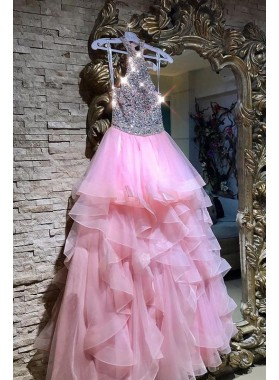 Shiny Pink Organza Halter Backless Tiered Beaded Long Ball Gown Prom Dresses 2019