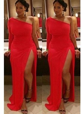 One Shoulder Red Side Slit Elastic Satin Sheath Long African American Black Women's Prom Dresses