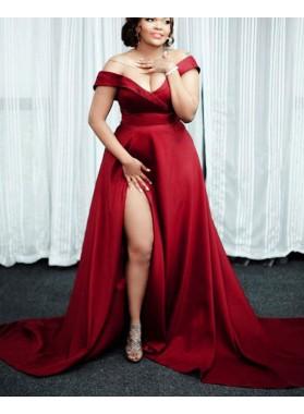 Red A Line Satin Side Slit Off Shoulder Sweetheart Long Plus Size Prom Dresses
