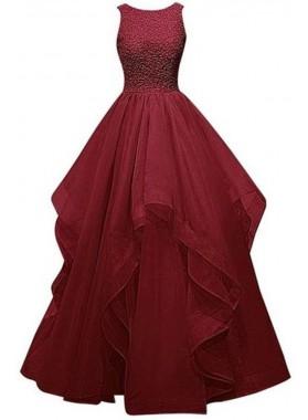 Ball Gown Burgundy Prom Dresses Tulle Beaded Sleeveless