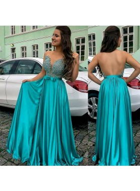 Charming A Line Elastic Satin Backless Sweetheart Jade Bowknot Beaded Prom Dresses