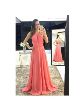 Elegant Chiffon A Line Backless Beaded Long Coral Pleated Prom Dresses
