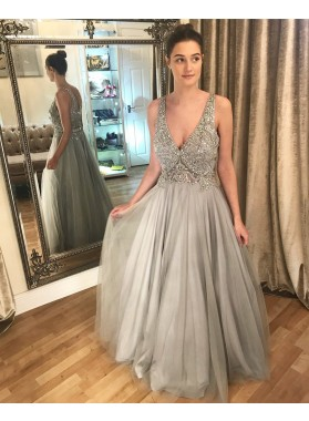 A Line Tulle Deep V Neck Beaded Gray Prom Dresses