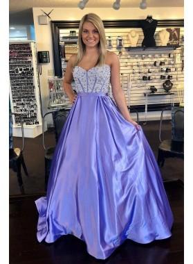 2019 Sweetheart A Line Elastic Satin Lavender Long Beaded Prom Dresses
