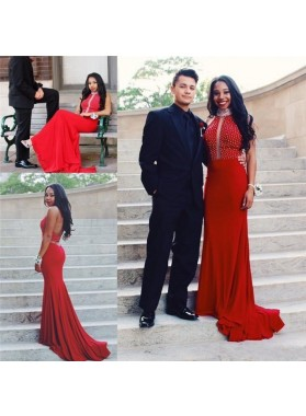 Charming Red Sheath Beaded Backless Long Prom Dresses 2019