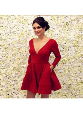 Cute A Line Red Long Sleeves Knee Length V Neck Satin Short Prom Dresses 2021