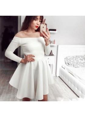 Satin Knee Length White Off Shoulder Long Sleeves Short Prom Dresses