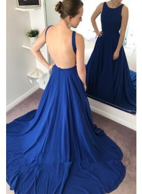 Sexy Backless Royal Blue A Line Zipper Back Long Prom Dresses 2021