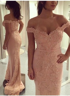 Sexy Off Shoulder Pink Sweetheart lace Sheath Long Prom Dresses 2021