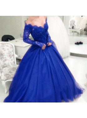 Long Sleeves Off Shoulder Fuchsia Tulle Sweetheart Ball Gown Prom Dresses