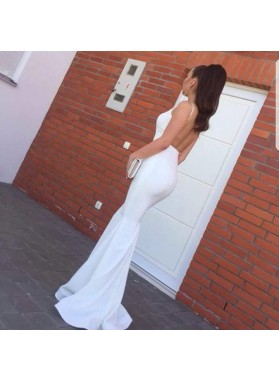 2020 Sexy White Mermaid Backless Halter Long Black Women's Prom Dresses