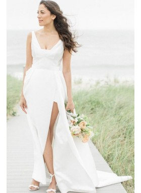 2019 New Arrival A Line Satin Side Slit White Wedding Dresses
