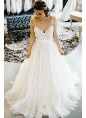 2021 Elegant A Line Sweetheart Spaghetti Straps Lace Tulle Ivory Wedding Dresses
