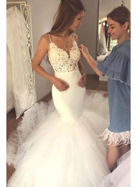 2021 Charming Mermaid Sweetheart Spaghetti Straps Long Backless Tulle Wedding Dresses