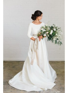 2019 Classic A Line Satin Crew Neck Long Sleeves Backless Bowknot Back Long Wedding Dresses