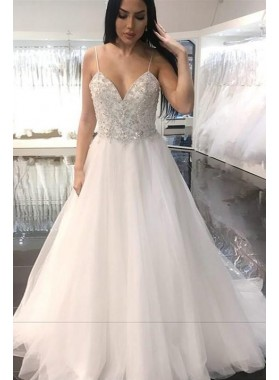 2019 New Arrival A Line Sweetheart Beaded Tulle Spaghetti Straps Backless Wedding Dresses
