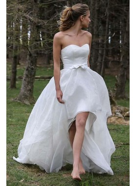 Cute A Line Organza High Low Sweetheart Bowknot Wedding Dresses