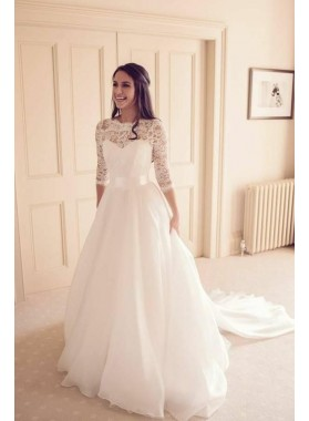 Elegant A Line Organza Long Sleeves Lace Long Sweetheart Wedding Dresses With Belt 2019