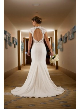 2019 Classic Sheath Elastic Satin Backless Lace Capped Sleeves Wedding Dresses