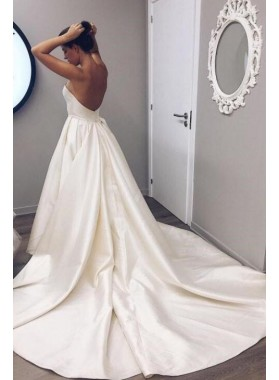 2019 Simple A Line Sweetheart Beige Satin Backless Long Wedding Dresses