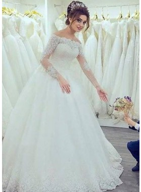 2020 New Arrival Off The Shoulder Long Sleeves Lace Ball Gown Wedding Dresses 2020WEDD-6379