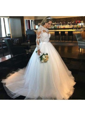 2021 Elegant A Line Tulle Long Sleeves Sweetheart Wedding Dresses