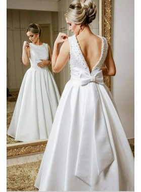 Classic Satin A Line Backless Bowknot Beaded Floor Length Wedding Dresses 2019