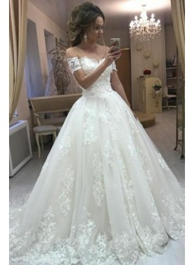A Line Off Shoulder Lace Long Ivory Sweetheart Wedding Dresses 2020 With Short Sleeves