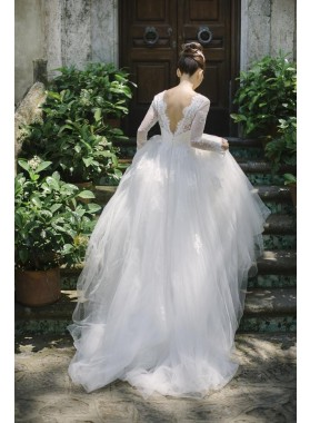 2020 New Arrival A Line Tulle Sweetheart Long Sleeves Backless Wedding Dresses