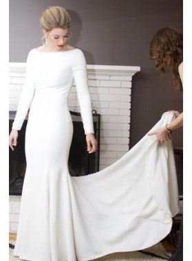 2020 Amazing Sheath Satin Ivory Crew Neck Long Sleeves Beaded Long Wedding Dresses