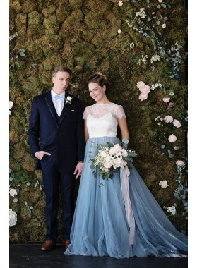 2019 New Arrival A Line Tulle White With Blue Capped Sleeves Lace Wedding Dresses