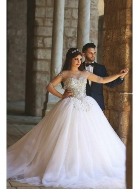 2021 Tulle Beaded Half Sleeves Sweetheart Ball Gown Wedding Dresses
