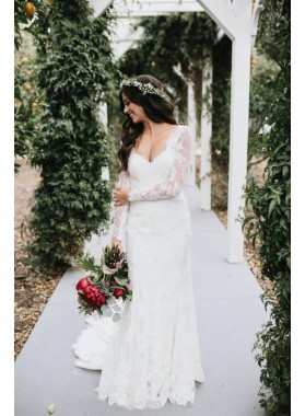 2020 Elegant Sheath Sweetheart Long Sleeves Backless Long Lace Wedding Dresses