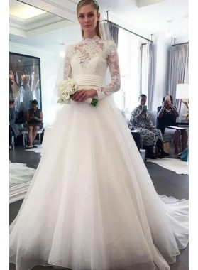 Elegant A Line Organza Long Sleeves High Neck Lace Wedding Dresses 2021