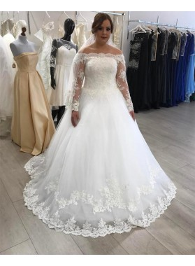 2020 White A Line Off Shoulder Lace Long Sleeves Plus Size Wedding Dresses