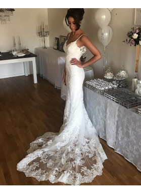 White Sheath Sweetheart Spaghetti Straps Long Lace Wedding Dresses 2021