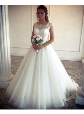 2021 Elegant A Line Tulle Ivory Sweetheart Lace Capped Sleeves Wedding Dresses